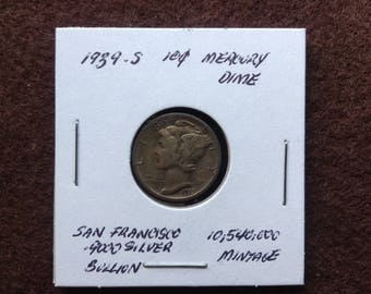 1939 S Mercury Silver Dimes, Old US Coins for Collecting and Investing, 90 Percent Silver Dime