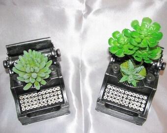 Desk Accessory Vintage Typewriter Planter, Faux Succulent Planter, Artificial Succulent Arrangement, Desk Planter, Unique Gift