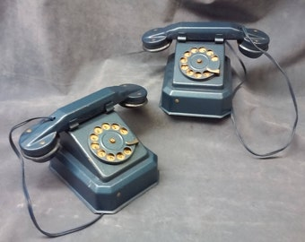 Vintage 1940's Child's metal Play Phones, Blue Metal Child's Telephones