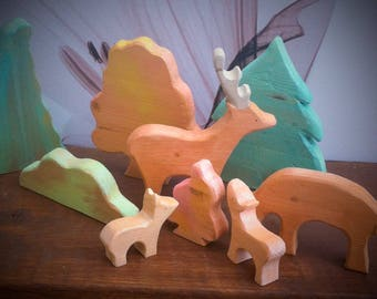 Deers in forest. Autumn woodland play set.