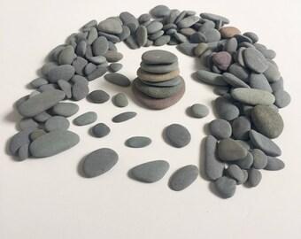 175 Pebble/ Mix Beach Stones/ Round Sea Stones/ Flat Stones/ Pebble Art/ Stone Supply/ Beach Pebbles/ Set of 175