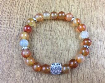 Gemstone Yoga Chakra Healing Bracelet Crazy Lace Agate Gift Reiki 18cm 196