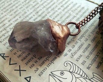 Raw Smoky Quartz Necklace - Healing Stone - Copper Pendant - Bohemian Jewelry - Raw Stone Necklace - Natural Healing Stone - Natural Quartz