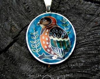 Hot enamel silver jewelry pendant Owl Cloisonne Minankari pendant Hot enamel jewelry Mother's day gift