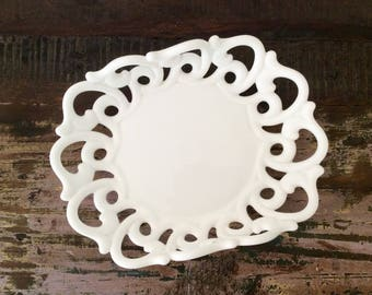 Rare Vintage 1954-1965 Fostoria Milk Glass Monroe Large Shallow Fruit Bowl - Barn or Rustic Chic Wedding Decor
