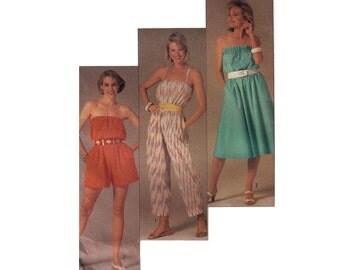 Simplicity 6945, 80s sewing pattern, size 10 women's jumpsuit pattern, romper pattern, overalls pattern, summer dress