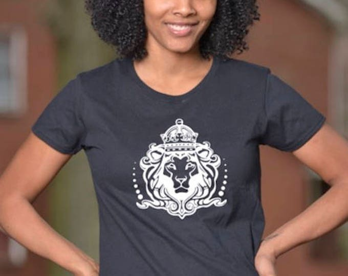 Lionhead on Womens Black T-Shirt