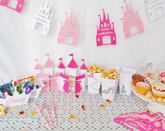Pack of 10, Princess Party, Girls Party Decorations, Party Set, Party Bags, Party Favours, Cupcake Wrapper, Topper, Bunting, Girls Party