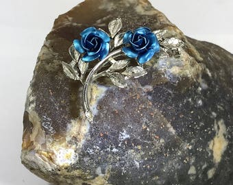 Beautiful Vintage Blue Rose and Silver Tone Brooch by Exquisite