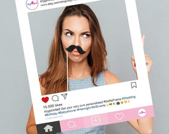 FULLY PRINTED Baby Pink Instagram style personalised Selfie Frame