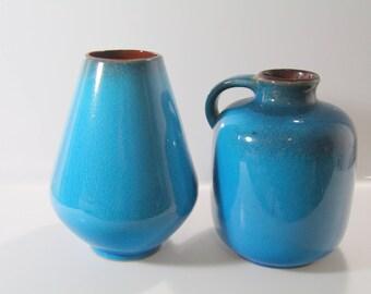 2 Stunning vases by  Gräflich Ortenburg'sche 616 and 608/1, WGP, west German Pottery, Mid Century