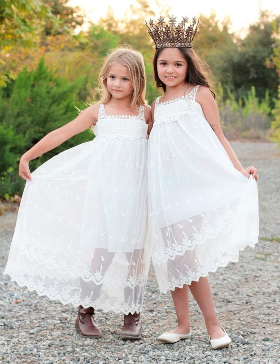 Bohemian Flower Girl Dress, Boho Lace & Crochet Flower Girl dress, White Lace Flower girl dress, Beach Flower girl dress, Junior Bridesmaid