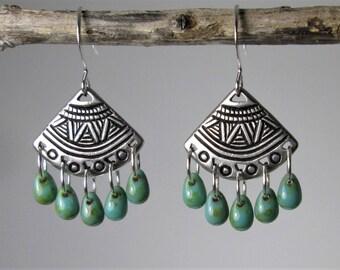Southwest Earrings, Silver Earrings,  Chandelier Earrings, Turquoise Earrings, Fan Earrings, Tribal Earrings, Southwest Earrings, Rustic