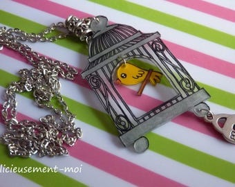 Silver metal chain necklace Choker vintage bird cage and Canary kawaii plastic crazy crazy padlock charm