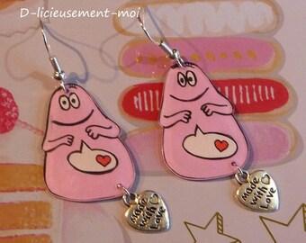 Earrings in sterling silver 925 barbapapa and crazy plastic cartoon kids heart charm pink
