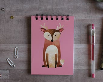NOTEPAD. A6 Cute Deer Spiral Notepad. Soft 300 gsm Card Cover. 120 blank pages. Matte lamination pleasant to the touch.