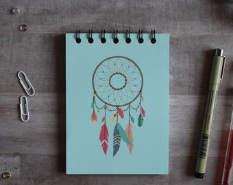 NOTEPAD. A6 Cute Blue Dreamcatcher Spiral Notepad. Soft 300 gsm Card Cover. 120 blank pages. Matte lamination pleasant to the touch.