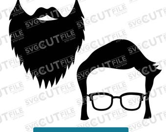 Beard svg, hipster photobooth prop, photo booth first glasses dxf, bachelor moustache shades, mustache baby birthday party dfx, 1st 2nd 3rd
