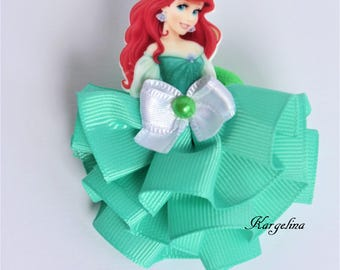 Princess Ariel Hair Clip Handmade Hair Band Crown Disney Princess Ariel Party Favor Mermaid Ariel hair clip Little Mermaid Ribbon Hairclip