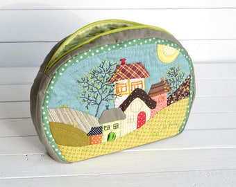 Houses Patchwork Purse, Green, Blue and Gray, Green Zipper, Cosmetic Purse, Sewing Case. Zipper Purse. Makeup boho pouch