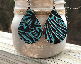 Brown and turquoise embossed genuine leather earrings