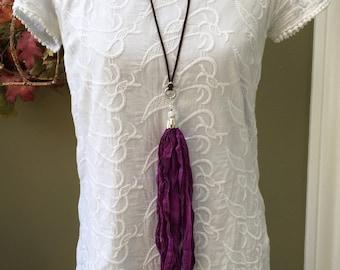 Sari Silk Tassel Necklace/Purple Tassel/Long Tassel Necklace/Boho Necklace/TCU, Kansas State, Clemson or LSU Necklace/Gameday Necklace