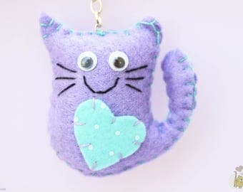 Cat felt keychain