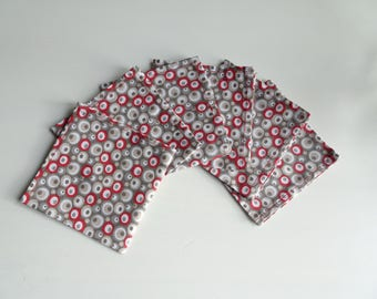 Set of 6 red and gray washable cocktail napkins