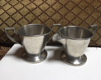 Continental Pewter Sugar Bowl and Creamer