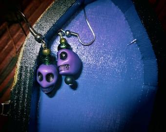 Spooky-Cute Gothic Skull Hook Earrings in Purple