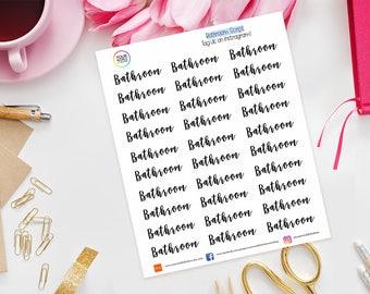 Bathroom Planner Stickers for Erin Condren Life Planner, Kikki K, Happy Planner, Kate Spade, Filofax, words, text, script, housework, clean