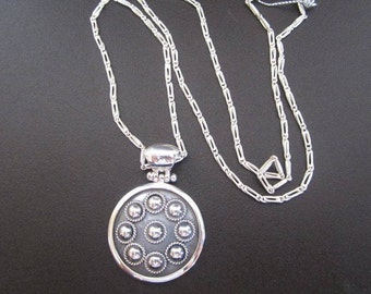 Burnt Silver Necklace, Silver 950, Silver Chain, Round Design-Solid 950 Silver for Sensitive Skin.