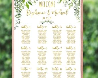 Greenery Wedding Seating Chart Rustic Wedding Sign Leafy Wedding Printable Seating Plan Poster Gold Beach Wedding Calligraphy #IDWS604_40C