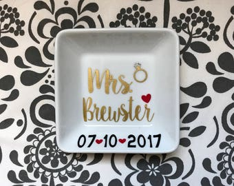 Personalized Mrs. wedding ring dish - perfect engagement gift