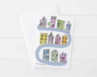 San Francisco SF Neighbors Lombard Street Colorful Houses Greeting Card 5x7