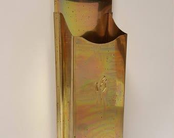 "Vintage Gold Tinware Wall Match Safe / Matchbox, 14"""