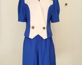 Vintage 1980s Designer Blue + White 2pc Culotte Short Set, Size 16