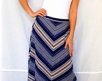St Michael a line skirt size 10 midi blue striped bohemian women skirt winter warm skirt vintage 70s 80s