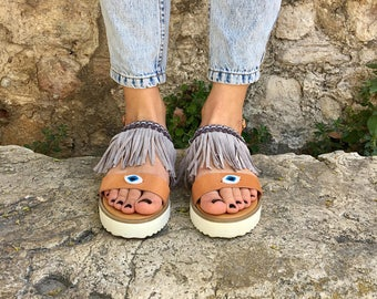 Flat Sandals, Boho Sandals, Leather Sandals, Summer Sandals, Made in Greece by Christina Christi Jewels.