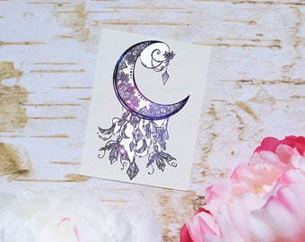 Galaxy Crescent Moon Vinyl Decal, Moon Decal, Crescent Moon Decal, Mandala Moon Decal