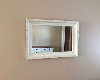 white mirror vintage distressed farmhouse shabby chic hanging wall mirror rustic hand