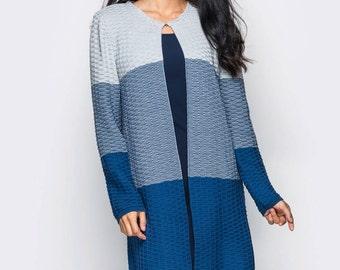 Cardigan Oversized Knitted Cardigan Blue long cardigan Long sleve cardigan Wool knit coat Woman knit coat Winter knit jacket Autumn cardigan