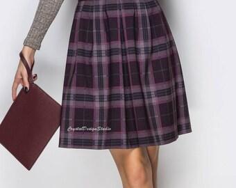Checkered skirt folds Women skirt office Classic skirt women Midi skirt Jersey Occasion skirt plaid Office clothing everyday Chequered skirt