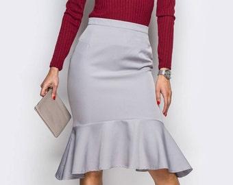Asymmetric skirt women Grayс Women skirt office Midi skirt folds Occasion skirt black Office clothing everyday Classic skirt folds