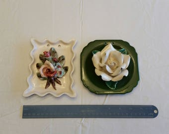2 antique porcelain ceramic floral plaques - wall hanging flowers - picture art roses pink white green capodimonte mojolica pottery shabby