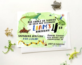 Nature invitations etsy creature party invitation reptile invitation nature center party invitation nature invitation stopboris Gallery