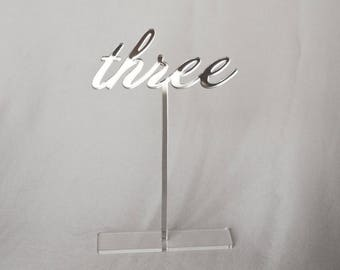 """7"""" Mirror acrylic Table Numbers, Wedding Table Numbers, Wedding Table Numbers Set, Wedding Table Decor, Table Numbers,"""