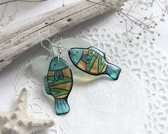 Funky fish earrings Seaside jewelry Summertime earrings Exotic earrings for girl gift Halloween earrings Colorful jewelry Summer women gift