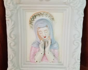 Virgin Mary Ceramic Wall Plaque by Lefton China