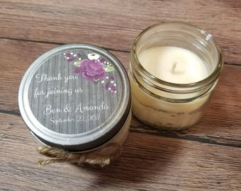 12 - 4 oz Personalized Wedding Favors - Wedding Thank You Gifts - Bridal Shower Candles - Bridal Shower Favors - Rustic Wedding - Guest Gift